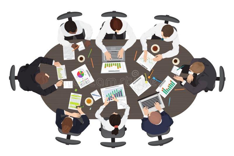 La estrategia del trabajo en equipo de la gestión de negocio discute el resolver y el inspirarse de concepto Mesa redonda ancha e ilustración del vector