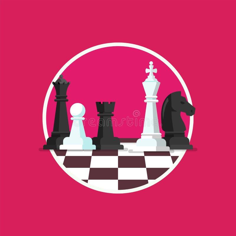 La estrategia empresarial con ajedrez figura en un tablero de ajedrez ilustración del vector