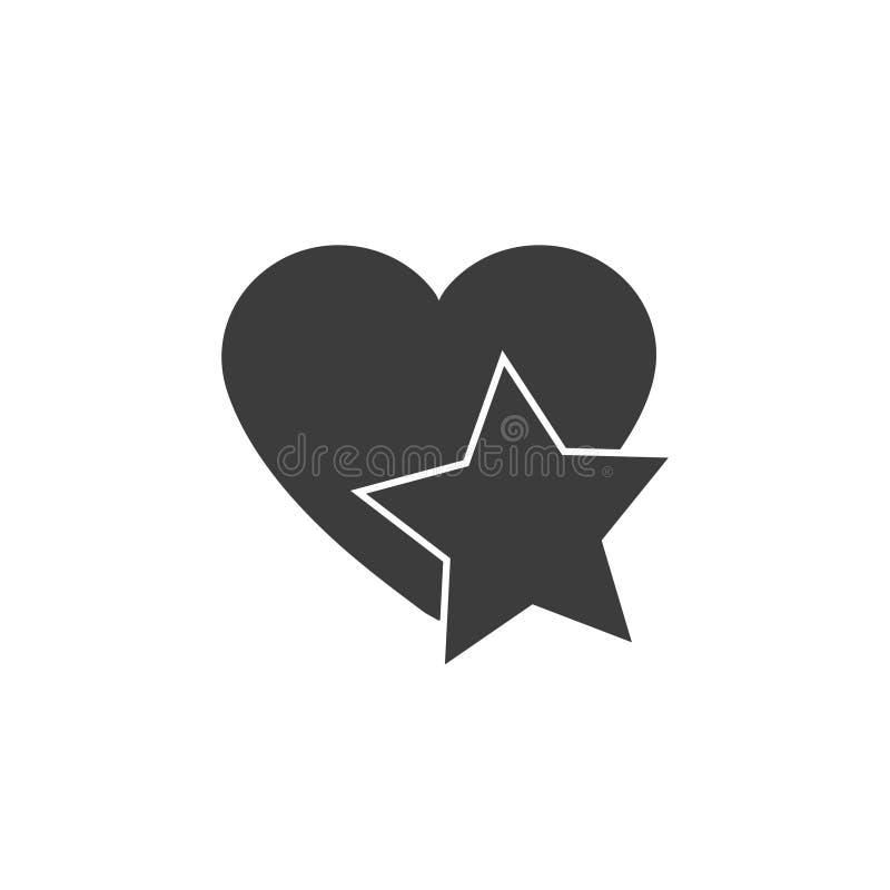 La estrella añade al icono preferido de la web de la muestra dentro del corazón libre illustration