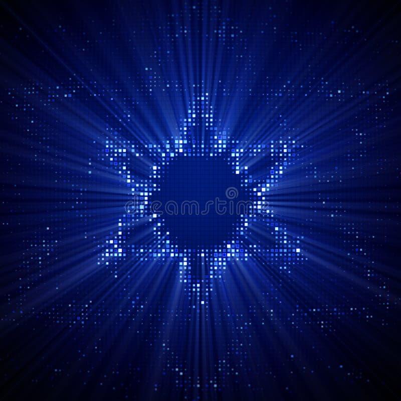 La estrella brillante de la forma de David del LED puntea en monitor stock de ilustración
