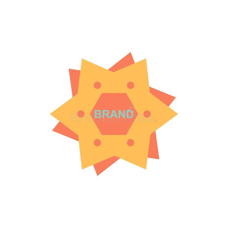 La estrella, calificando, marca, logotipo, forma el icono plano del color Plantilla de la bandera del icono del vector libre illustration
