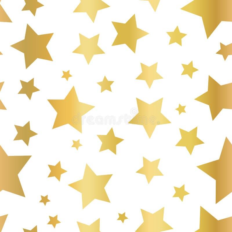 La estrella de la hoja de oro forma el modelo inconsútil del vector Estrellas de oro en el fondo blanco Cielo nocturno del oro Di libre illustration
