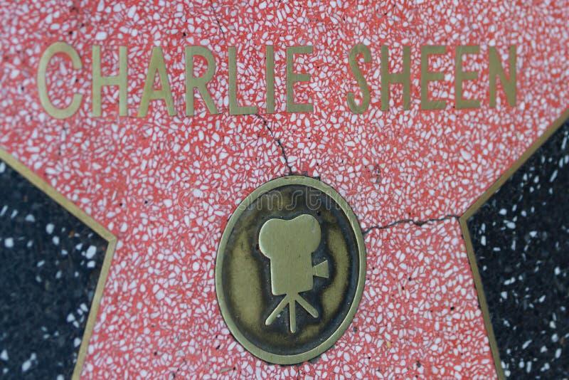 La estrella de Hollywood de Charlie Sheen imagen de archivo libre de regalías