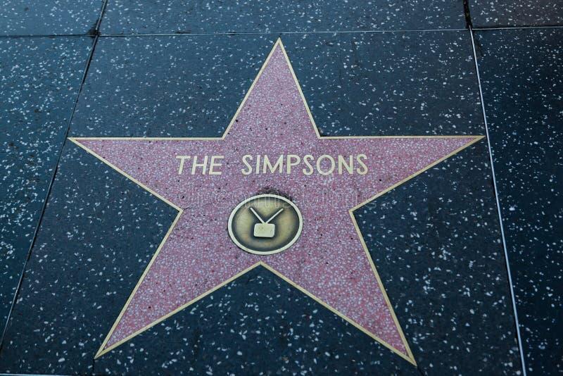 La estrella de Hollywood de Simpsons imágenes de archivo libres de regalías