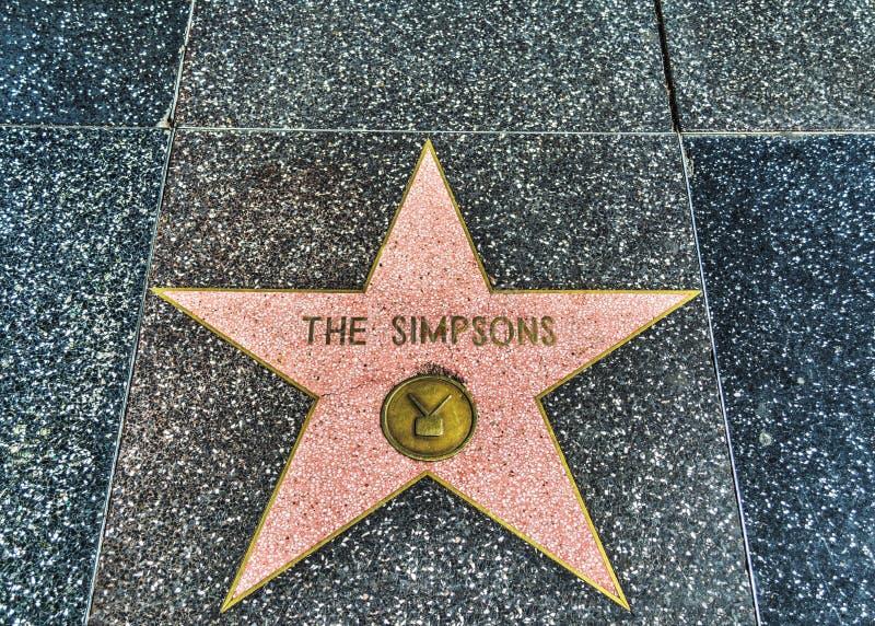 La estrella de Simpsons en el paseo de Hollywood de la fama imagen de archivo libre de regalías