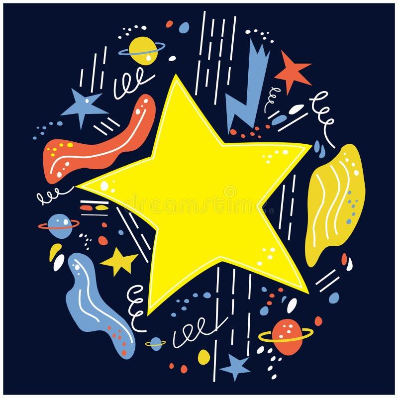 La estrella estalló el espacio, cuando usted desea para arriba en una estrella Ilustración del vector imagen de archivo