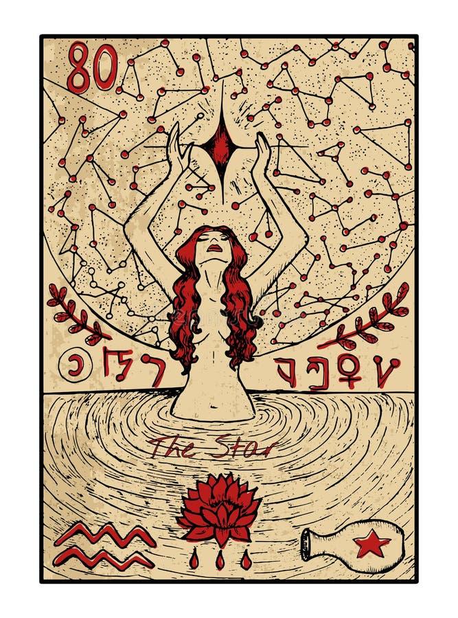 La estrella La carta de tarot stock de ilustración