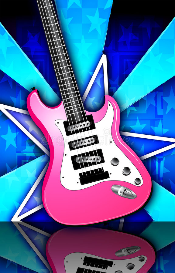 La estrella repartió la ilustración rosada de la guitarra de la roca libre illustration