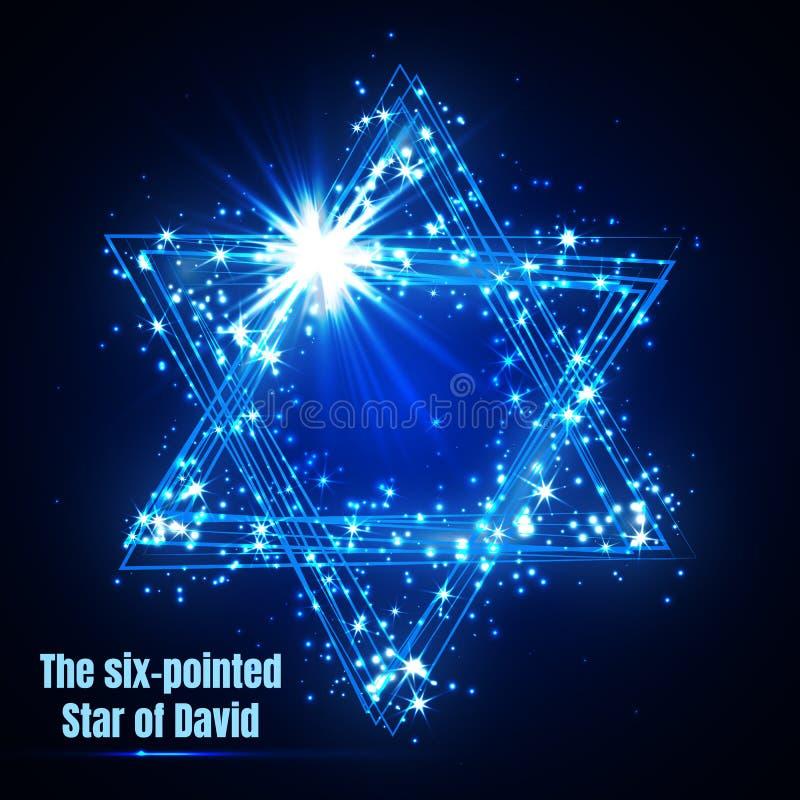 La estrella seis-acentuada de David, estrella mágica azul brillante del vector stock de ilustración