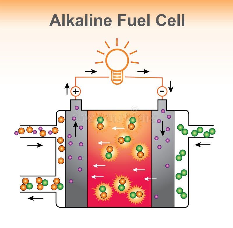 La estructura alcalina de la pila de combustible ilustración del vector
