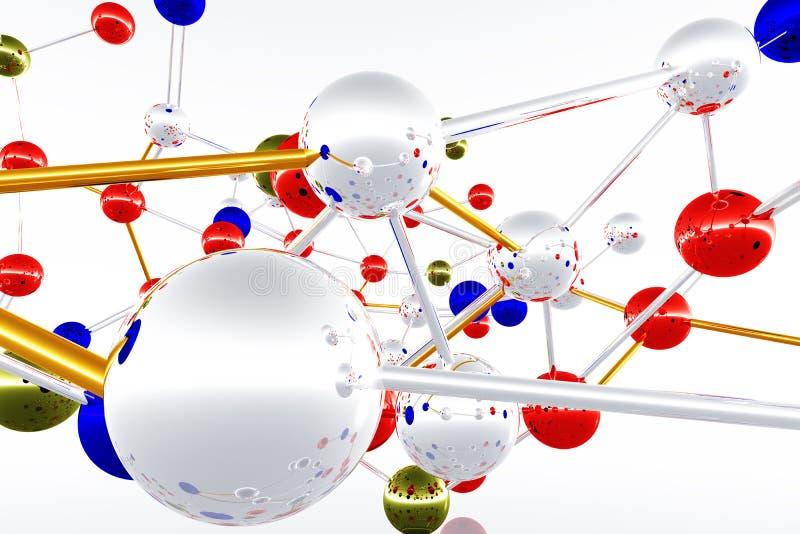 La estructura compleja 3D del átomo de la molécula rinde libre illustration