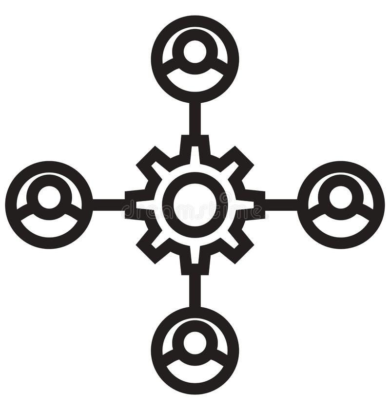 La estructura de organización, línea icono aislado del flujo de trabajo del vector puede ser modificada y corregir fácilmente ilustración del vector