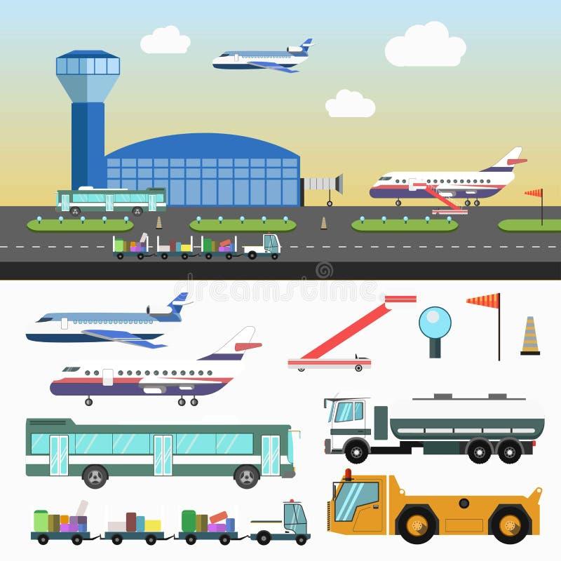 La estructura del aeropuerto y los vehículos especiales fijaron en blanco stock de ilustración