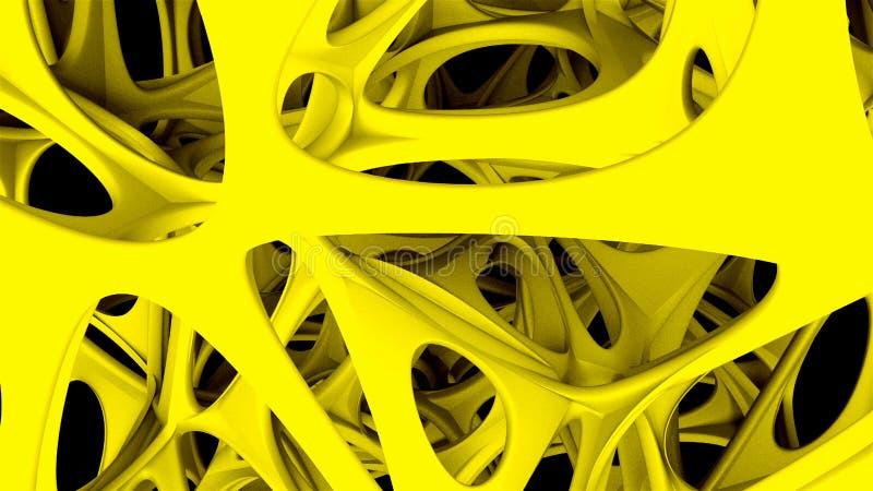 la estructura fantástica orgánica 3d en el espacio, fondo abstracto generado por ordenador, 3D rinde stock de ilustración