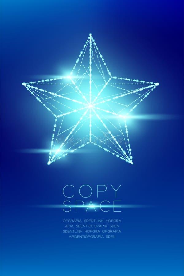 La estructura y la lente del marco de la luz del bokeh del polígono del wireframe de la estrella de la Navidad señalan por medio  stock de ilustración