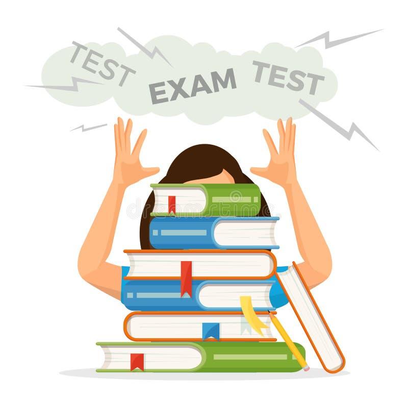 La estudiante consigue lista para la prueba del examen con la pila de los libros de texto ilustración del vector