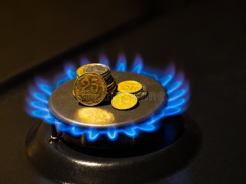 La estufa de gas ardiente friesa las llamas azules con las monedas, cierre para arriba fotos de archivo libres de regalías