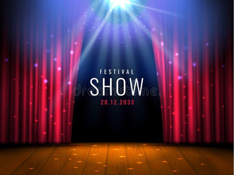 La etapa de madera del teatro con la cortina roja y el proyector Vector la plantilla festiva con las luces y escena Diseño del ca stock de ilustración