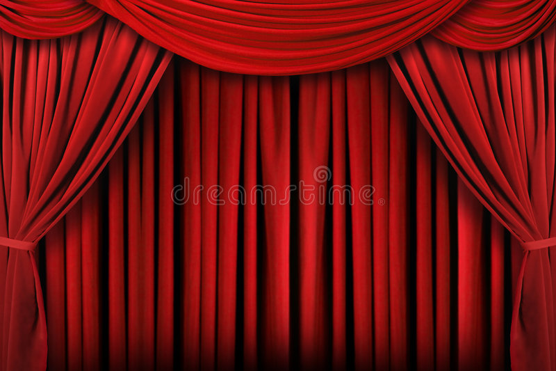 La etapa roja abstracta del teatro cubre el fondo imagen de archivo