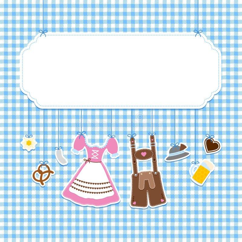 La etiqueta cuadrada que cuelga los iconos de Oktoberfest comprueba el fondo del modelo libre illustration