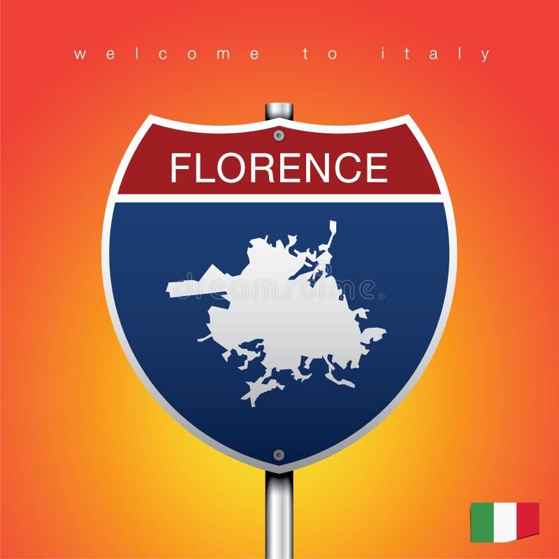 La etiqueta de la ciudad y el mapa de Italia en estilo americano de las muestras libre illustration