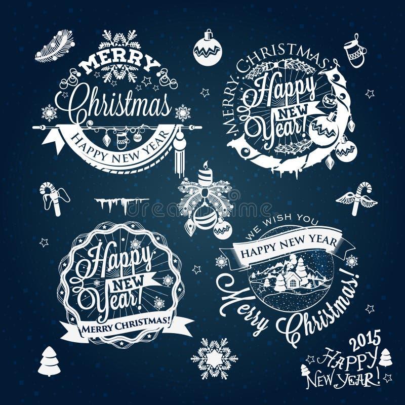 La etiqueta de la Navidad y del Año Nuevo, decoración para usted diseña stock de ilustración