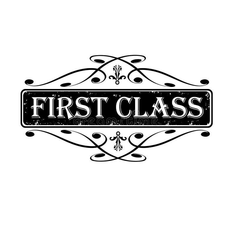 La etiqueta de la primera clase, sella caligráfico ilustración del vector