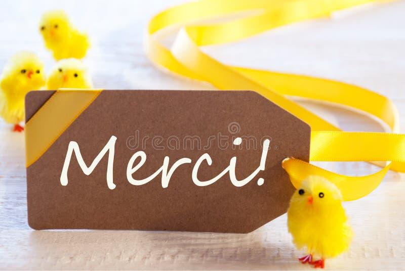 La etiqueta de Pascua, polluelos, medios de Merci le agradece foto de archivo libre de regalías