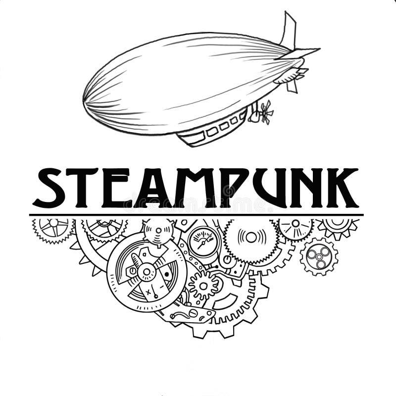La etiqueta de Steampunk con las máquinas industriales adapta las cadenas y los elementos técnicos, ejemplo dibujado mano foto de archivo