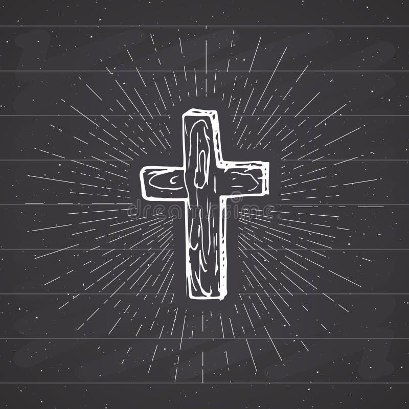 La etiqueta del vintage, cruz cristiana dibujada mano, muestra religiosa, grunge del símbolo del crucifijo texturizó la insignia  libre illustration