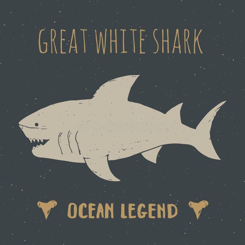 La etiqueta del vintage de la silueta del tiburón, bosquejo dibujado mano, grunge texturizó la insignia retra, impresión de la ca libre illustration
