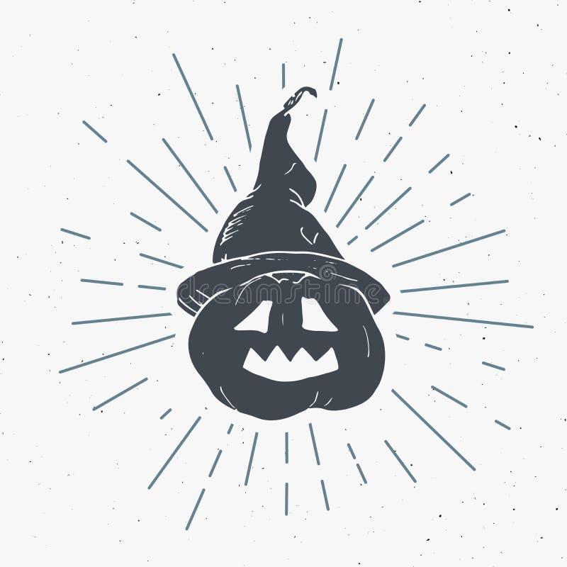 La etiqueta del vintage de la tarjeta de felicitación de Halloween, calabaza dibujada mano del bosquejo, grunge texturizó la insi libre illustration