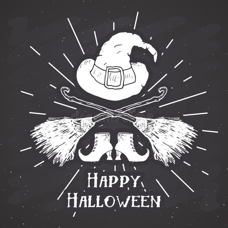 La etiqueta del vintage de la tarjeta de felicitación de Halloween, los artículos dibujados mano de la bruja del bosquejo, grunge libre illustration