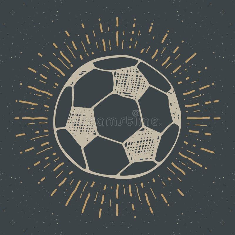 La etiqueta del vintage, fútbol dibujado mano, bosquejo del balón de fútbol, grunge texturizó la insignia retra, impresión de la  stock de ilustración