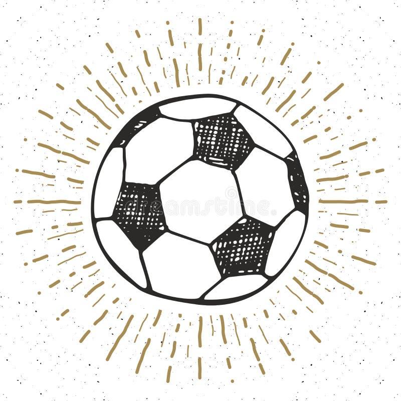 La etiqueta del vintage, fútbol dibujado mano, bosquejo del balón de fútbol, grunge texturizó la insignia retra, impresión de la  ilustración del vector