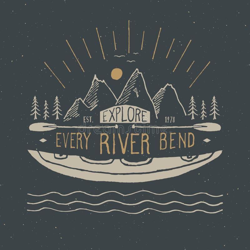 La etiqueta del vintage del kajak y de la canoa, bosquejo dibujado mano, grunge texturizó la insignia retra, impresión de la cami libre illustration