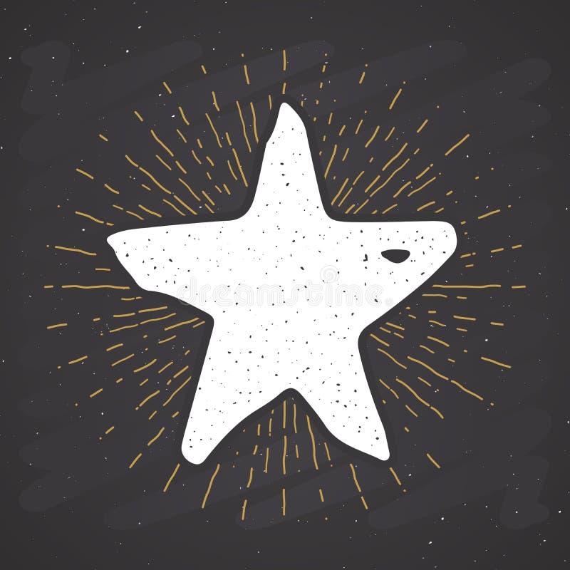 La etiqueta del vintage del símbolo de la estrella, grunge texturizó la insignia retra, ejemplo del vector del diseño de la tipog ilustración del vector