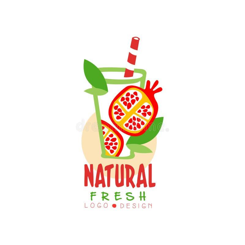 La etiqueta dibujada mano del vector con la granada dulce y el verde se va en vidrio Jugo de fruta natural y fresco ilustración del vector