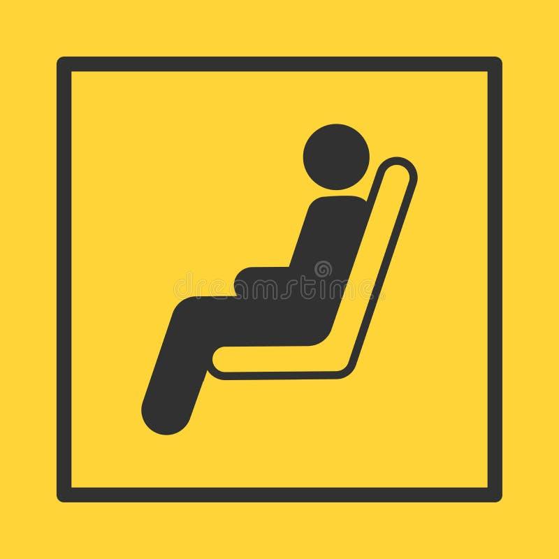 La etiqueta engomada amarilla del autobús o del tren o del asiento plano en marco cuadrado, se puede utilizar para las etiquetas, stock de ilustración