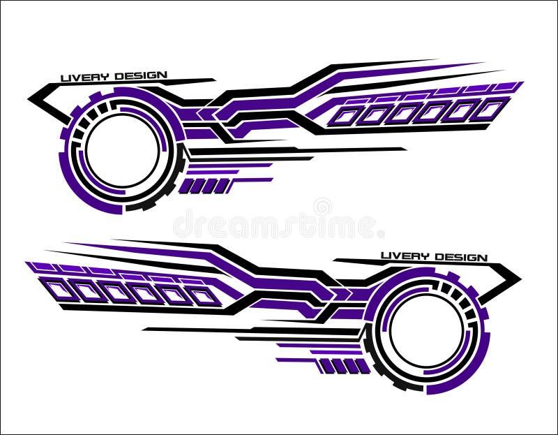 La etiqueta engomada de los vinilos fij? las etiquetas para el coche cami?n que el mini autob?s modifica la motocicleta Competir  libre illustration