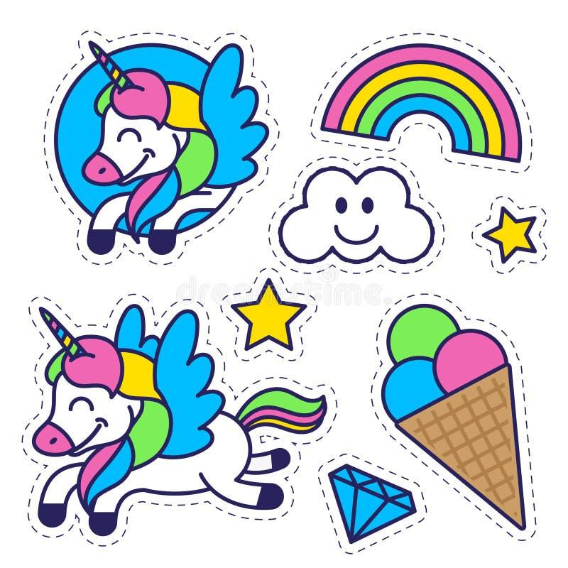 La etiqueta engomada fijó con el arco iris del unicornio y el helado ilustración del vector