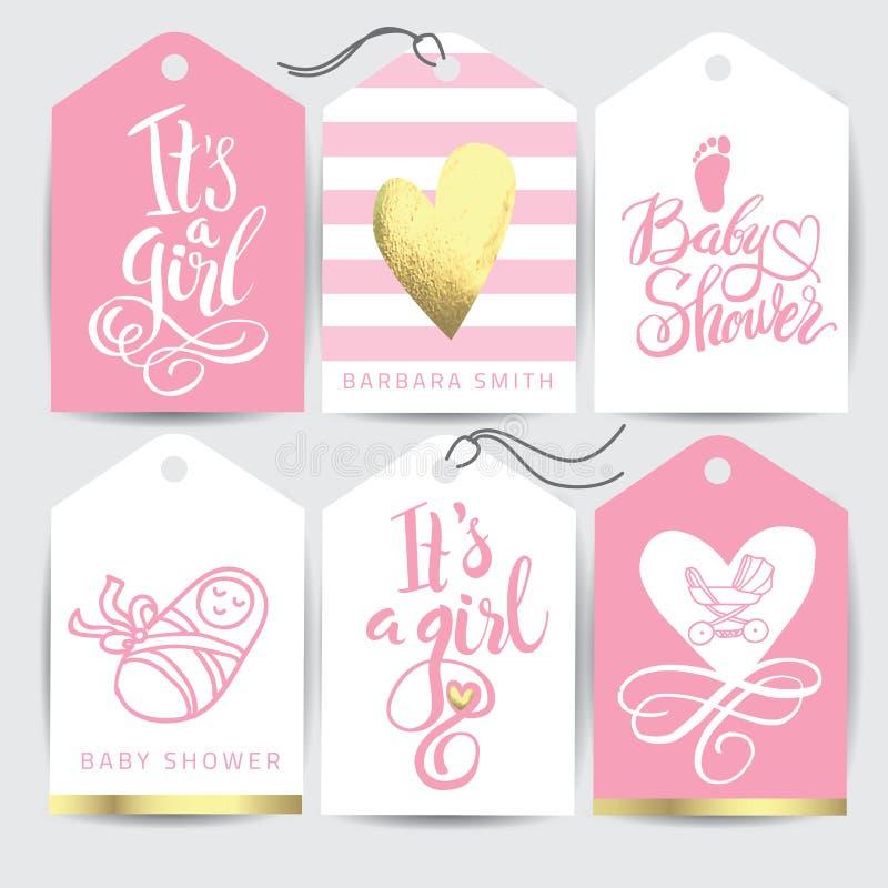 La etiqueta engomada rosada del vector lo fijó el ` s una muchacha Caligrafía que pone letras a la fiesta de bienvenida al bebé E stock de ilustración