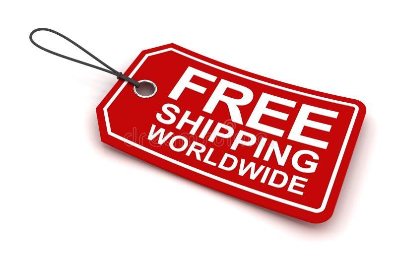 La etiqueta mundial del envío gratis, 3d rinde stock de ilustración