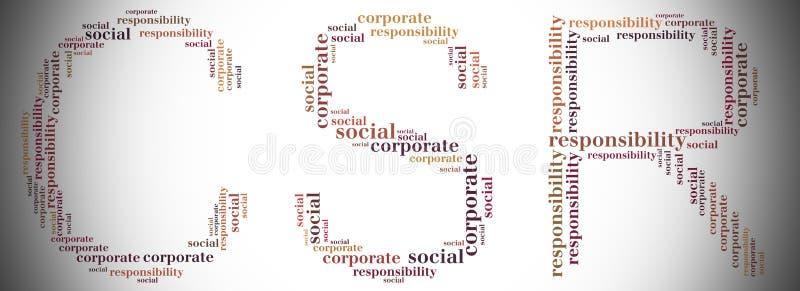 La etiqueta o el CSR de la nube de la palabra se relacionó en la forma del CSR libre illustration