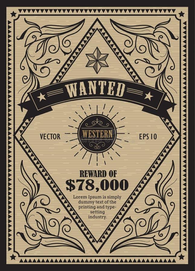 La etiqueta occidental de la antigüedad del marco del vintage quiso la mano retra dibujada libre illustration