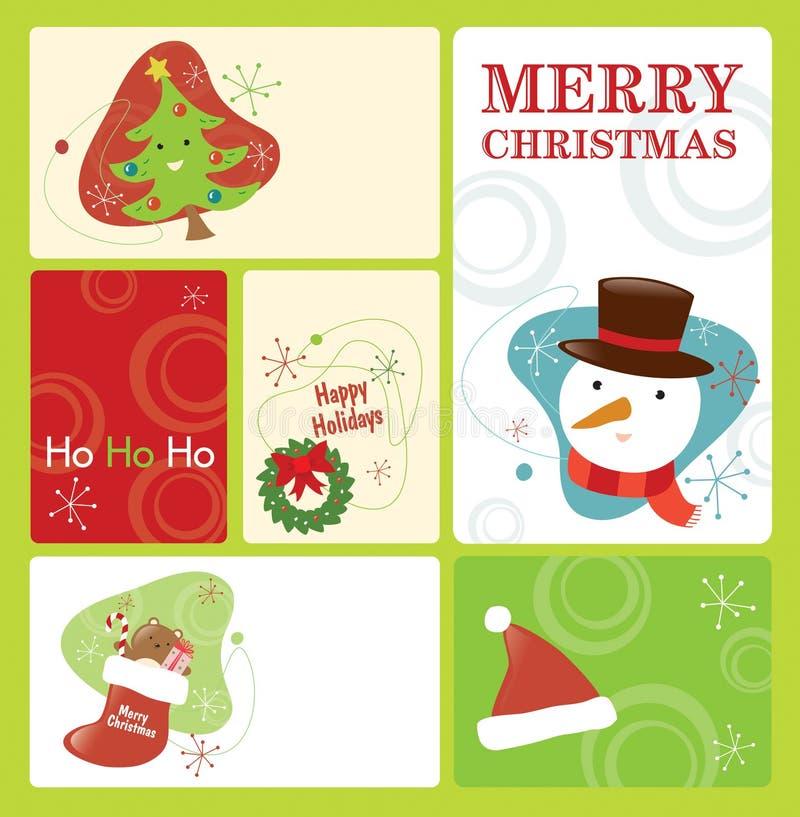 La etiqueta retra de la Navidad fijó 2 stock de ilustración