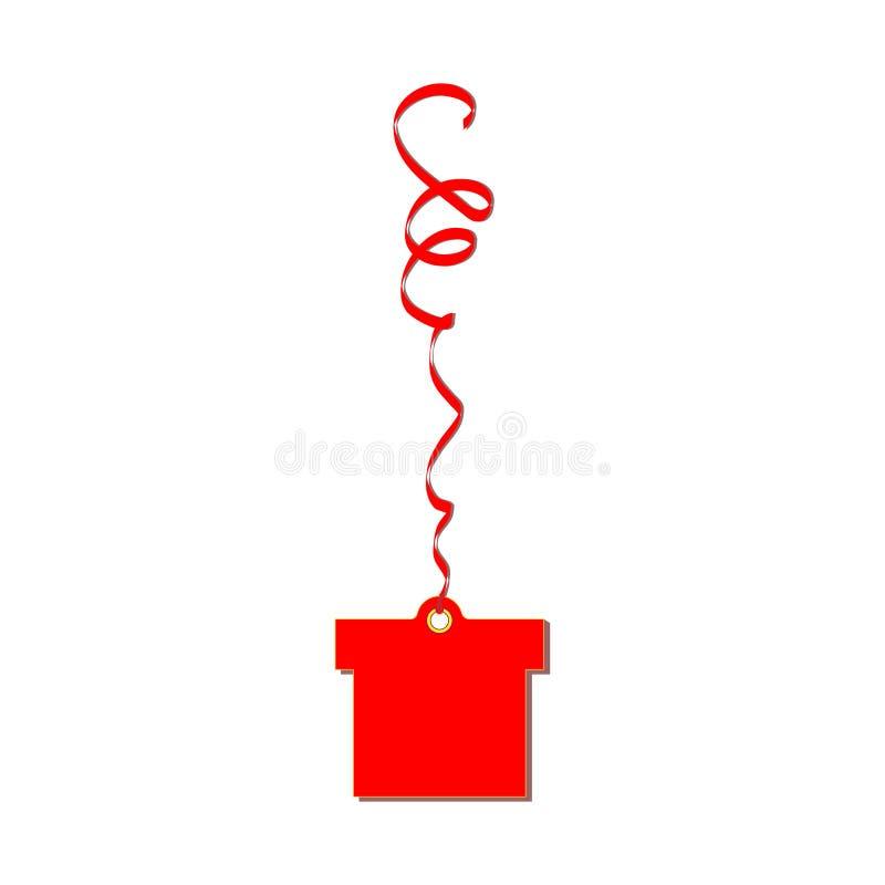 La etiqueta roja de la cartulina del regalo pesa en la cinta serpentina Conveniente para las decoraciones del día de fiesta y el  ilustración del vector