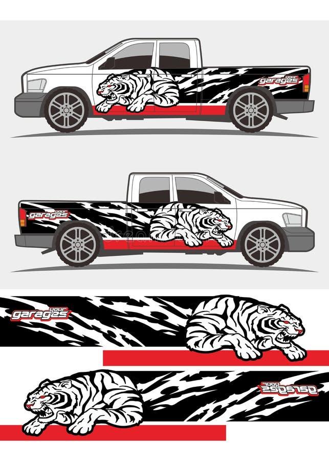 La etiqueta tribal de los gráficos del tigre del rugido enojado diseña para el camión y la furgoneta stock de ilustración