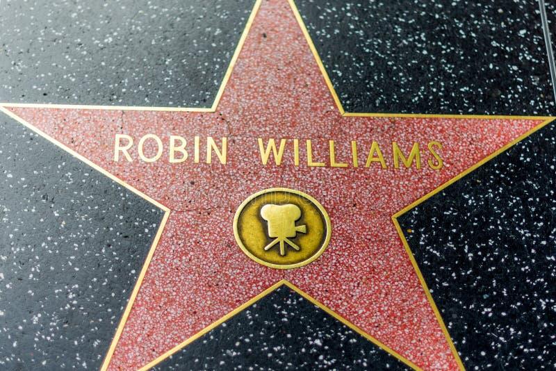 LA, EUA - 30 DE OUTUBRO DE 2018: Estrela falecida de Robin Williams no corredor da fama de hollywood fotografia de stock royalty free