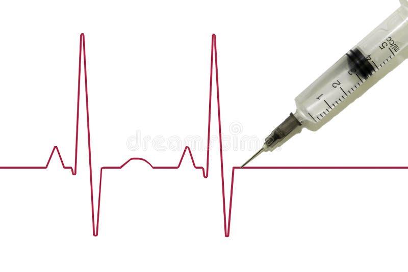 La eutanasia, drogadicción, cardiograma esquemático del pulso con una jeringuilla pegada en ella, después de lo cual muerte ocurr foto de archivo libre de regalías